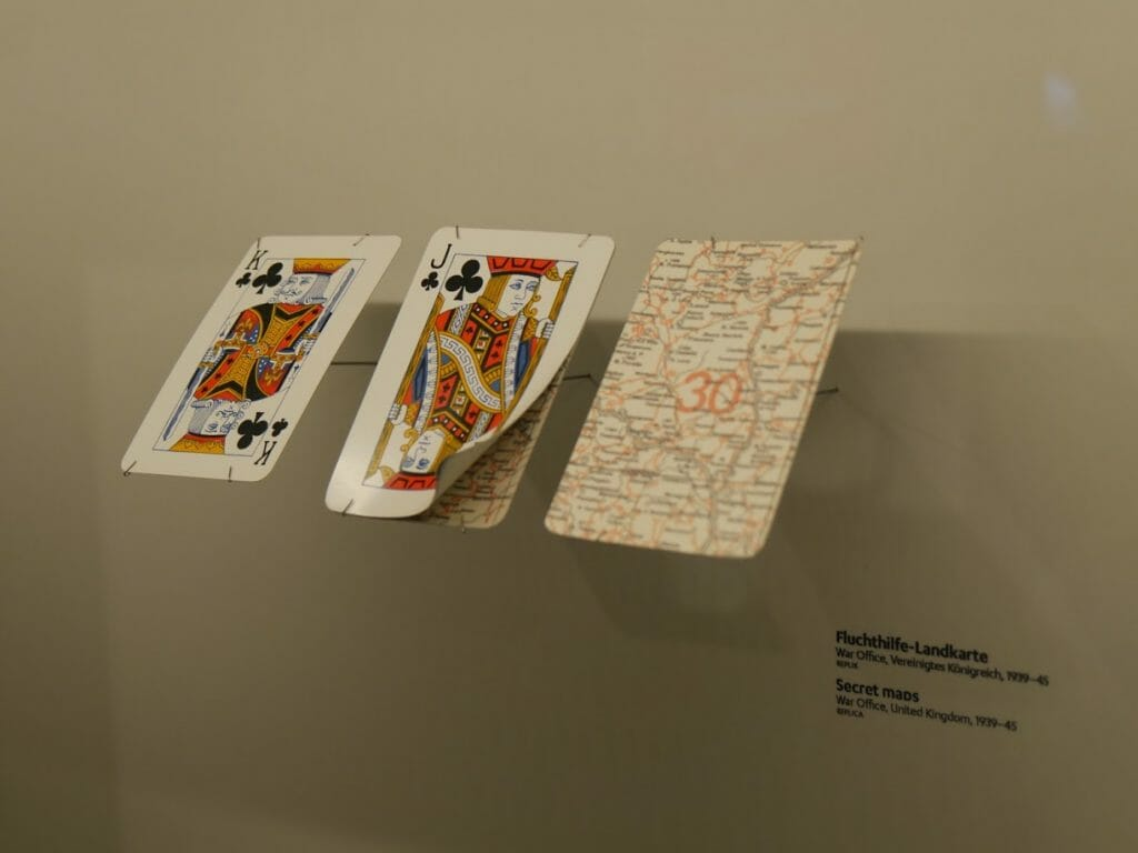 Secret maps hidden inside playing cards at the German Spy Museum, Berlin