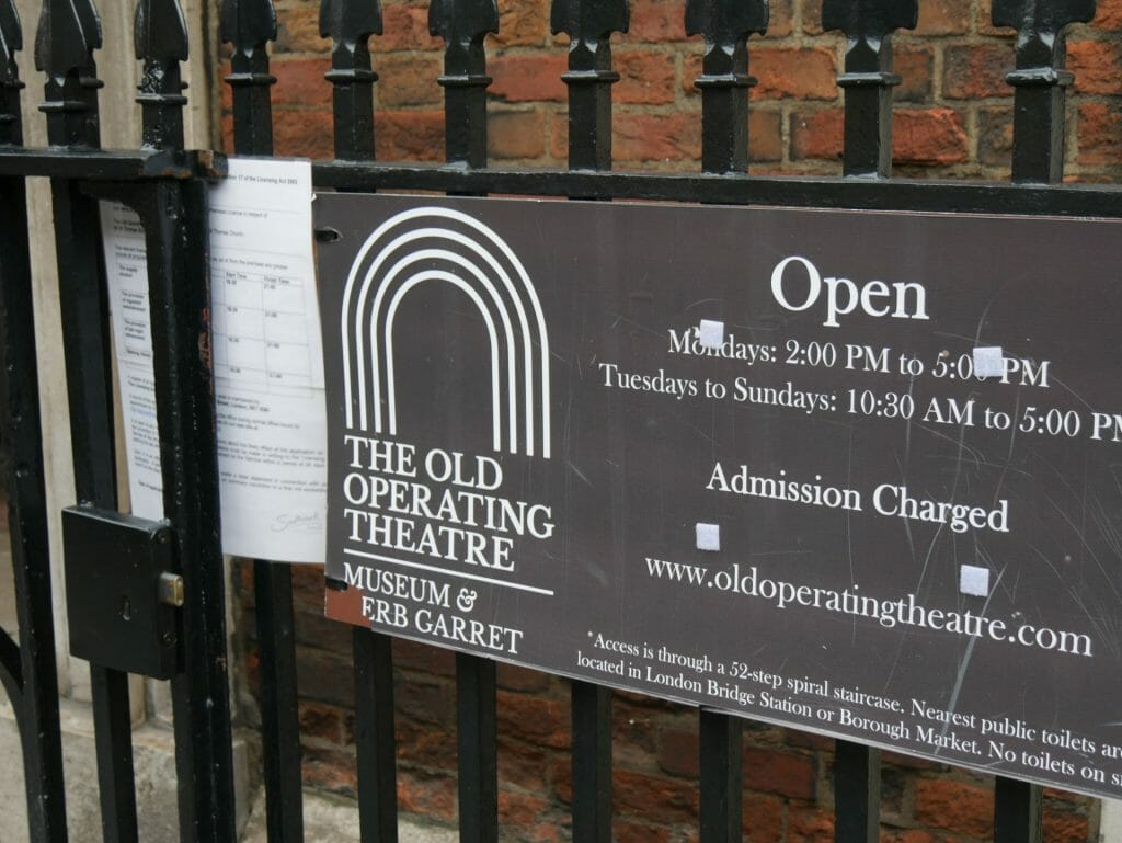 Old Operating Theatre sign