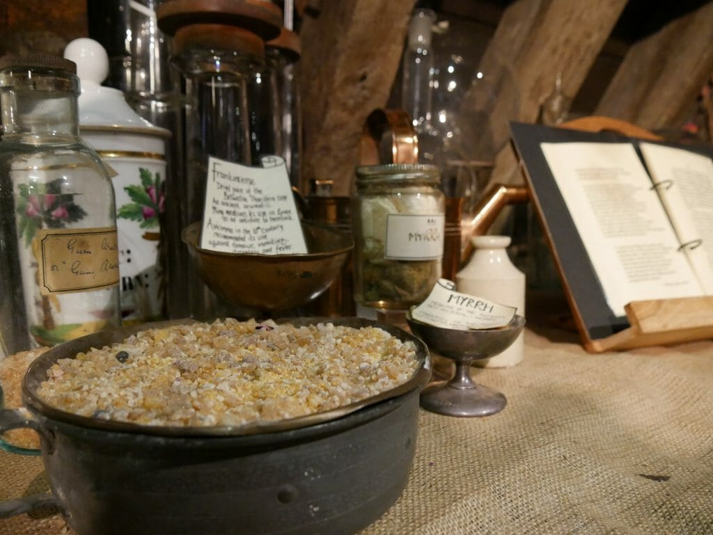 Herbs in bowls at the Old Operating Theatre, London