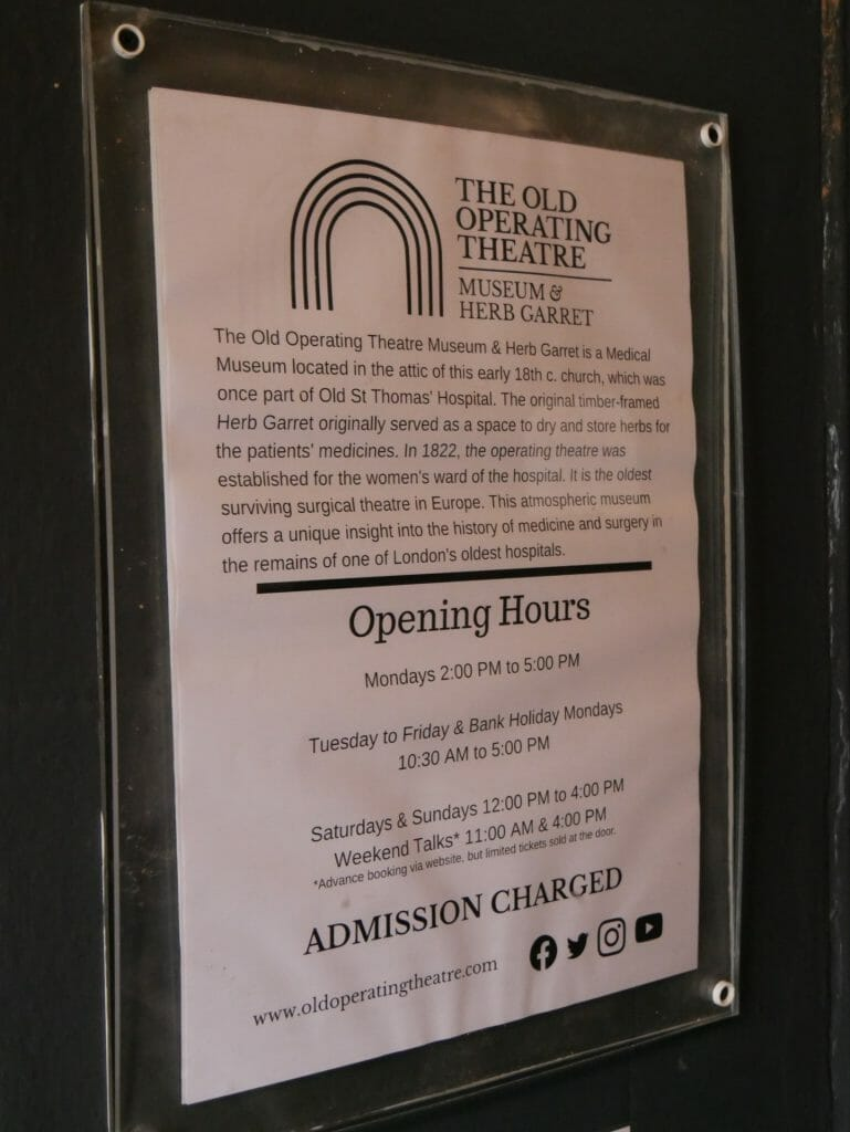 Old Operating Theatre opening times