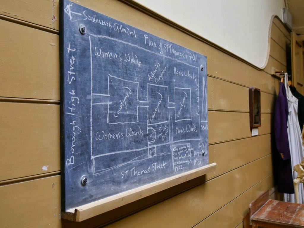 Blackboard with map drawn on it at The Old Operating Theatre
