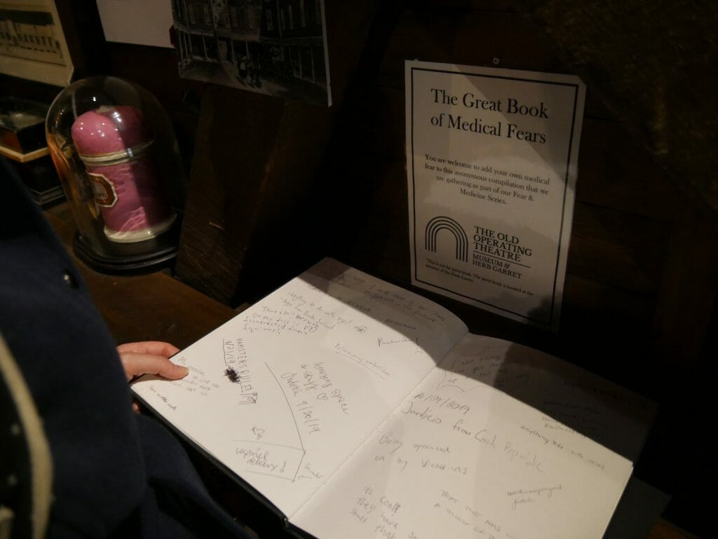 Book of Medical Fears at the Old Operating Theatre, London