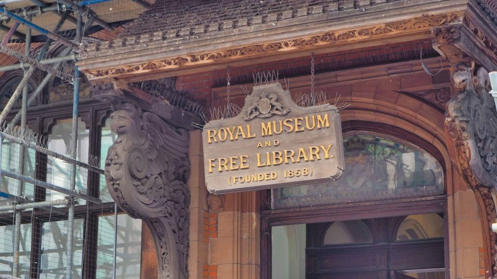 A sign for the Royal Museum and Free Library founded 1858 in Canterbury