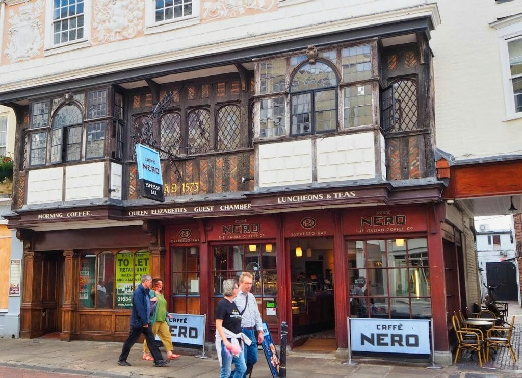 A Cafe Nero in an old building, dated 1573, with wooden beams