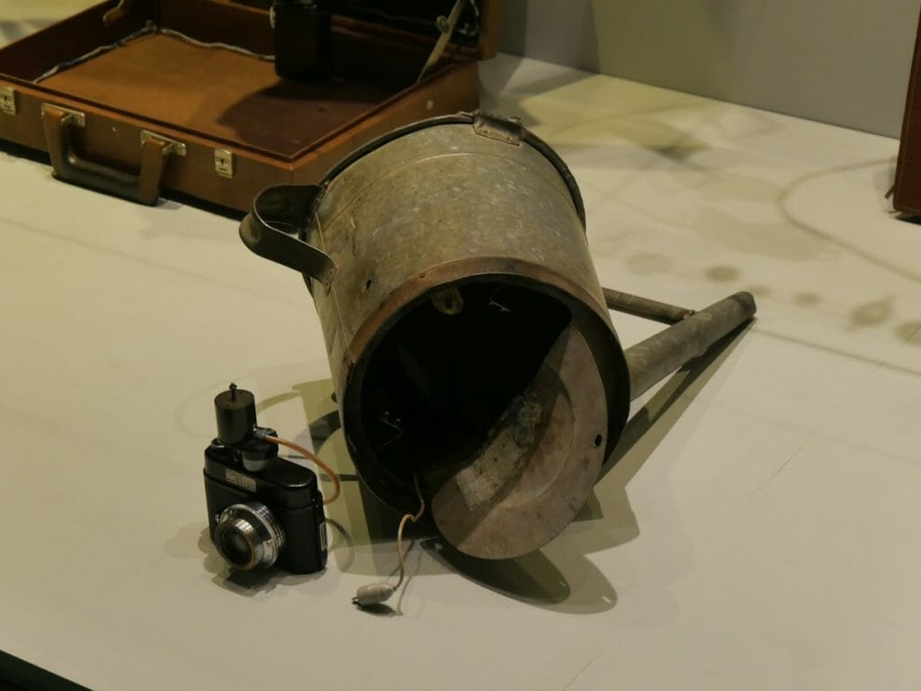 A camera built in to a watering can at the German Spy Museum, Berlin