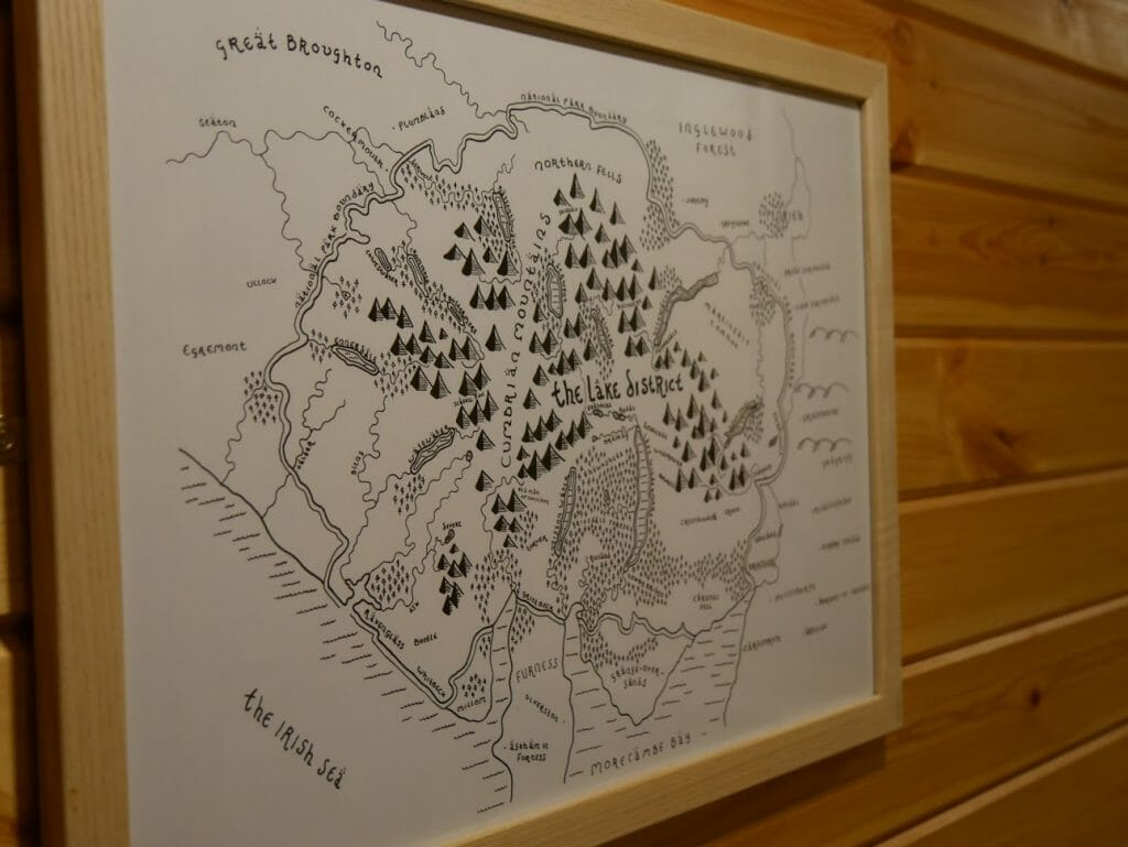 A hand-drawn map on the bathroom wall in a hobbit hole at The Quiet Site