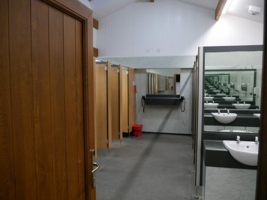 The public showers at The Quiet Site
