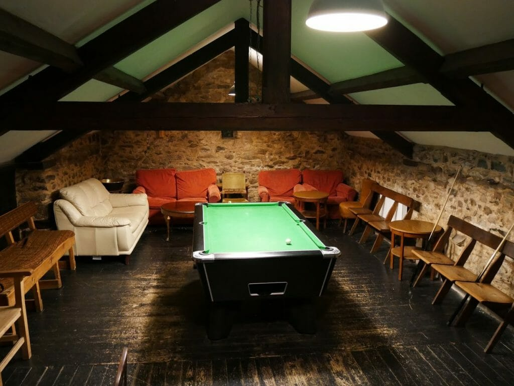 A pool table inside the bar at The Quiet Site Lake District