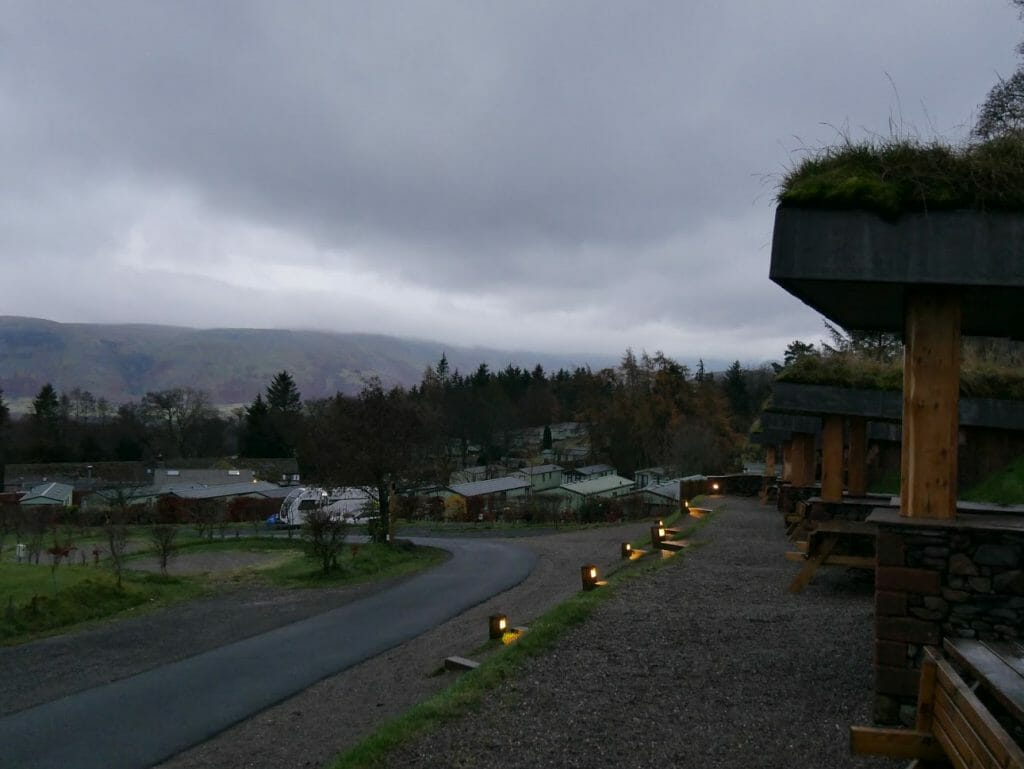 View outside a hobbit hole at The Quiet Site