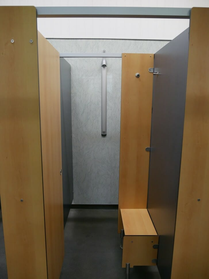 Inside one of the shower cubicles at The Quiet Site