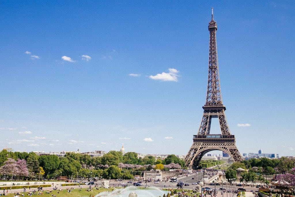 Eiffel Tower with blue sky