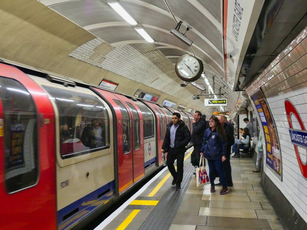 People getting on a London underground train