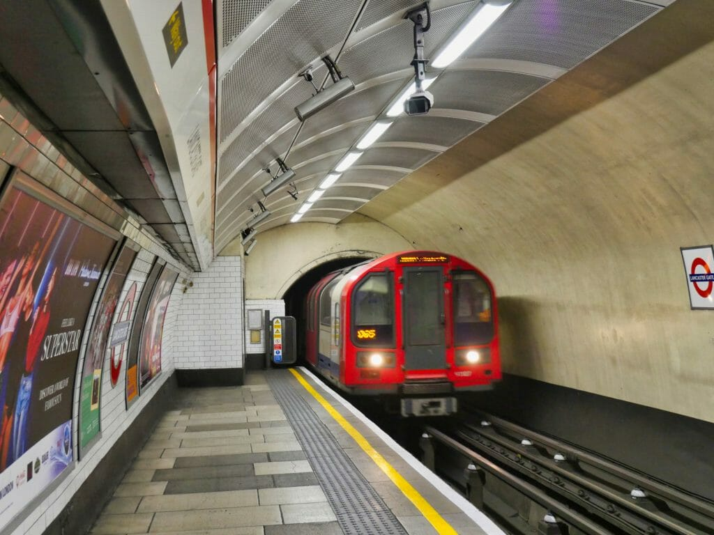 London Underground train arriving
