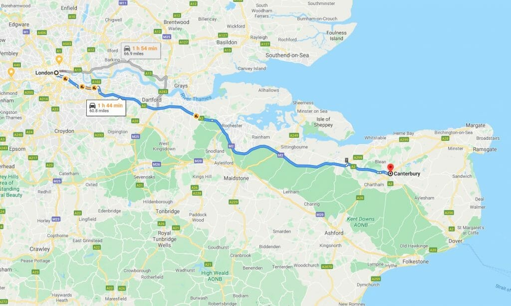Route driving from London to Canterbury