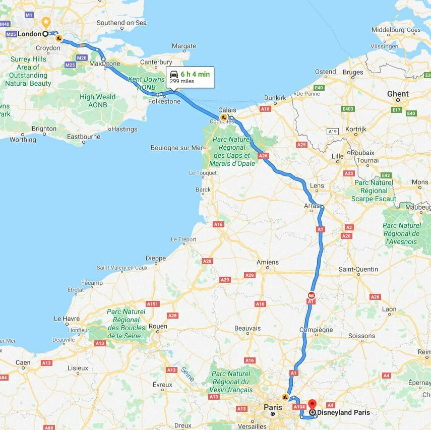 How to get to London to Disneyland Paris by bus and car on a map