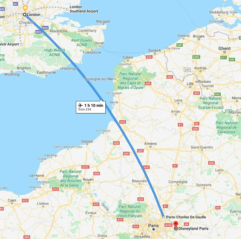 How to get to London to Disneyland Paris by plane flight on a map