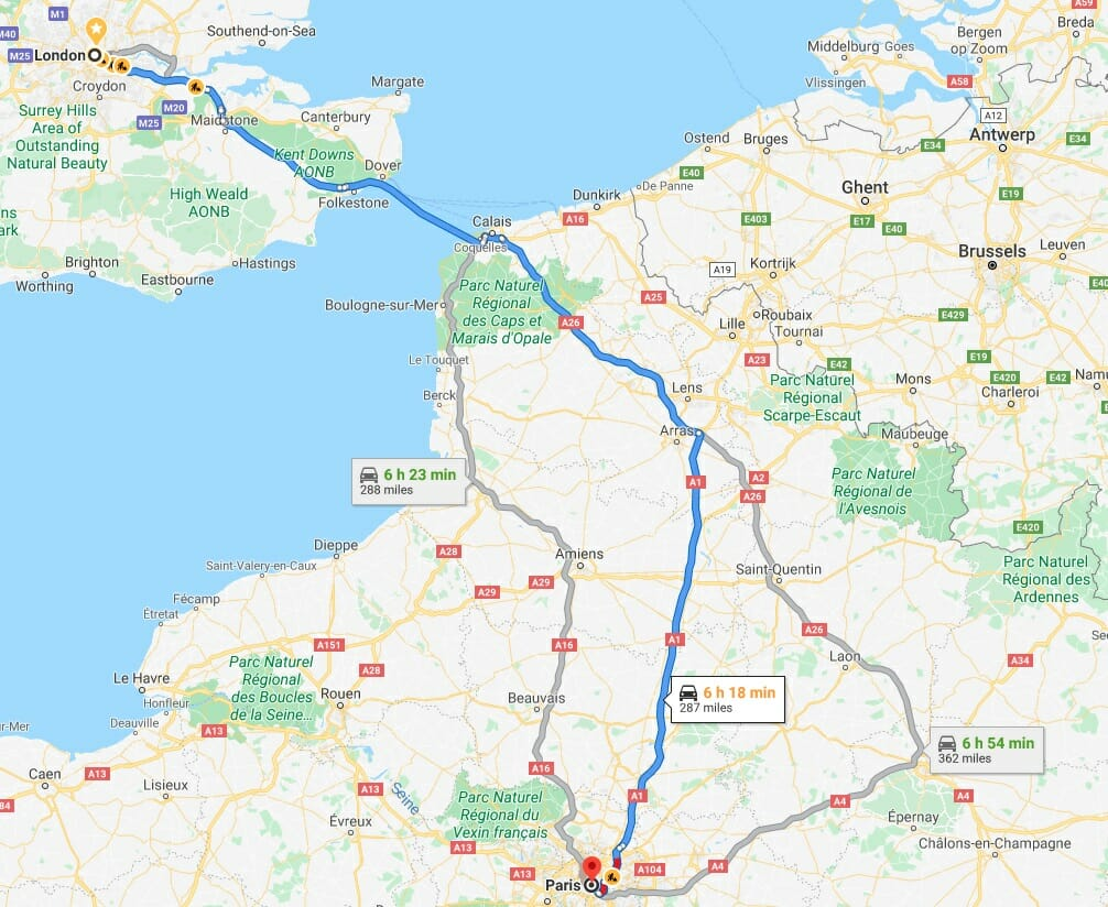 How to get from London to Paris driving route