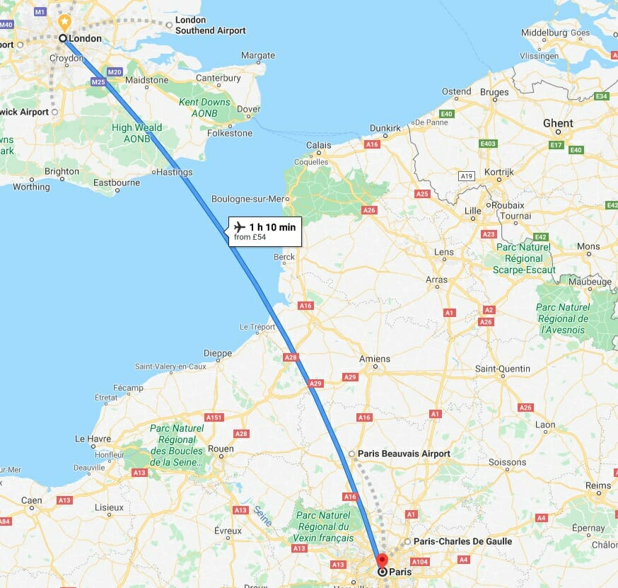 How to get to Paris from London flight options