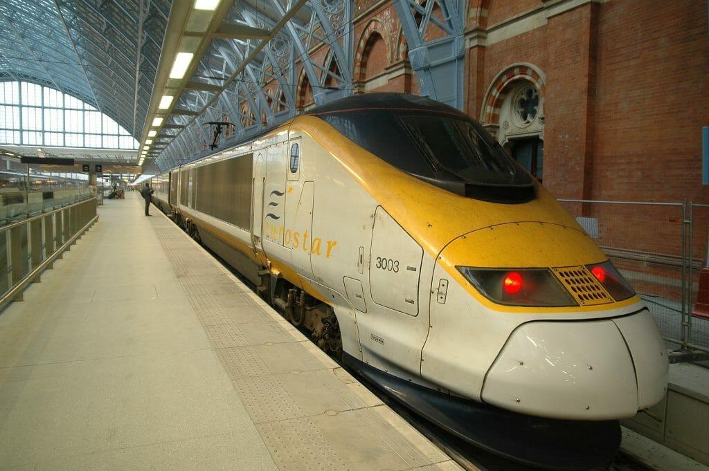 Eurostar London to Paris train in St Pancras station