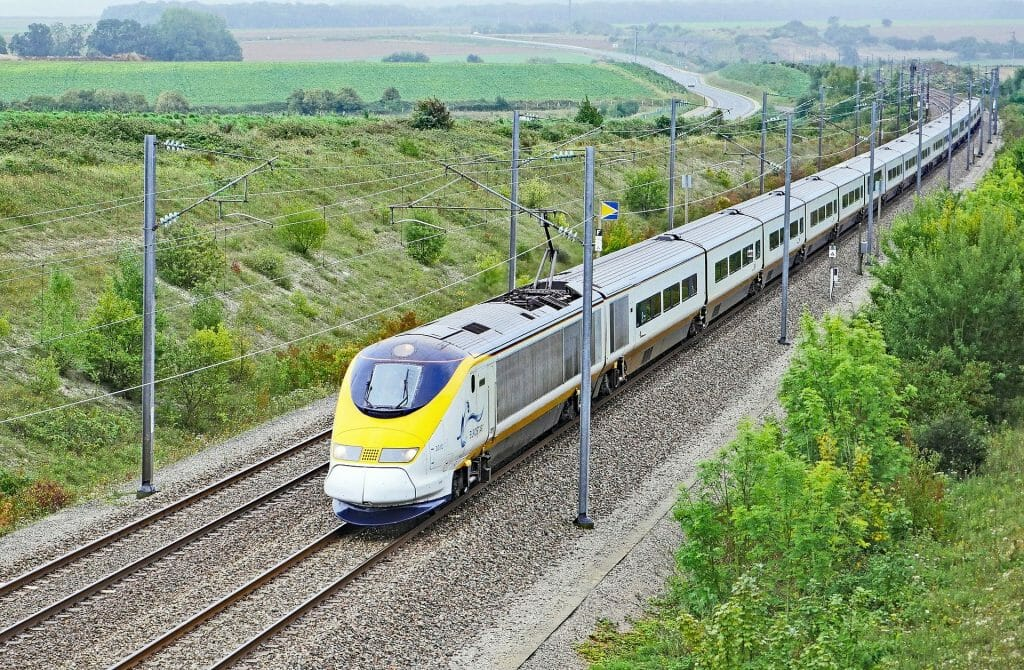 Eurostar London to paris train going through countryside