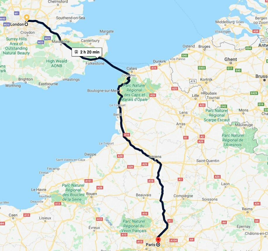 London to Paris train route time and distance