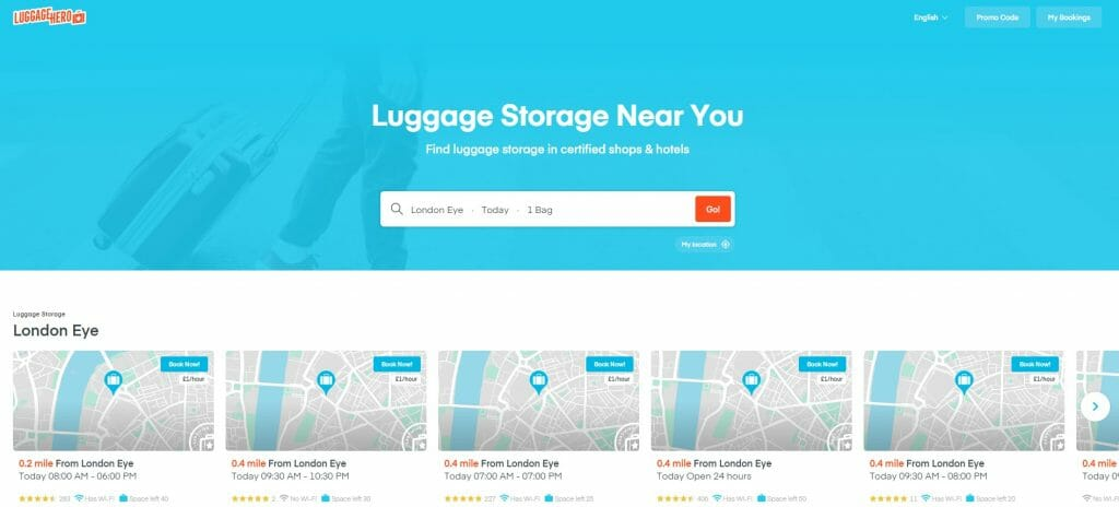 Luggage Hero home page with search terms