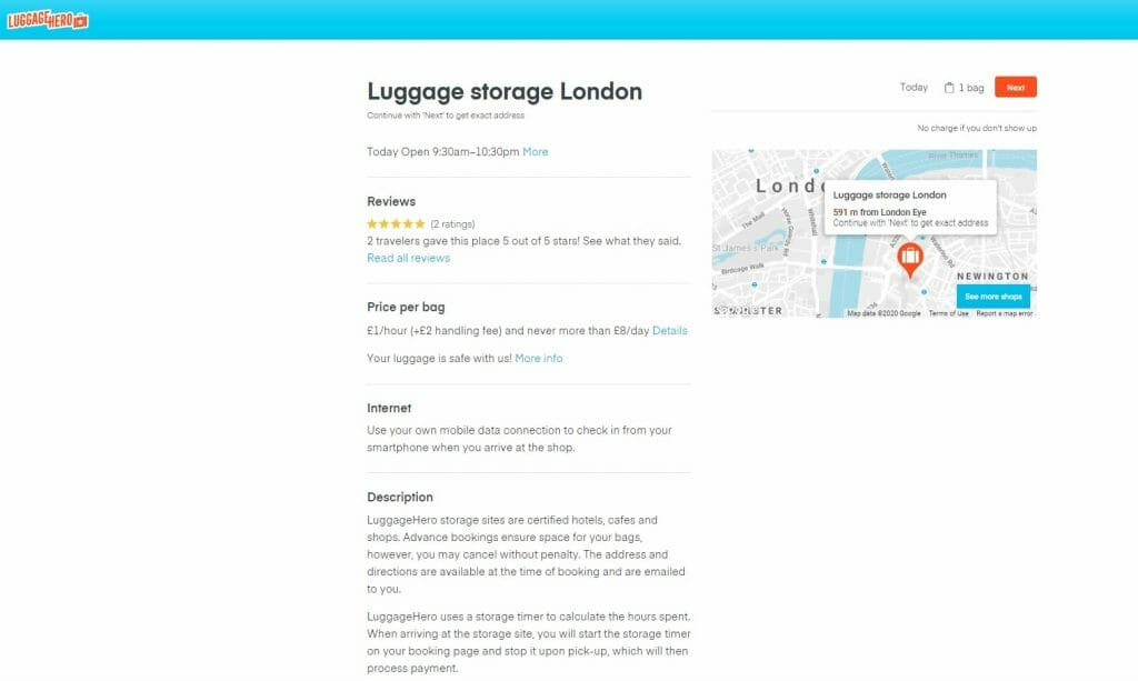 Description and review page for a luggage storage location in London on Luggage Hero