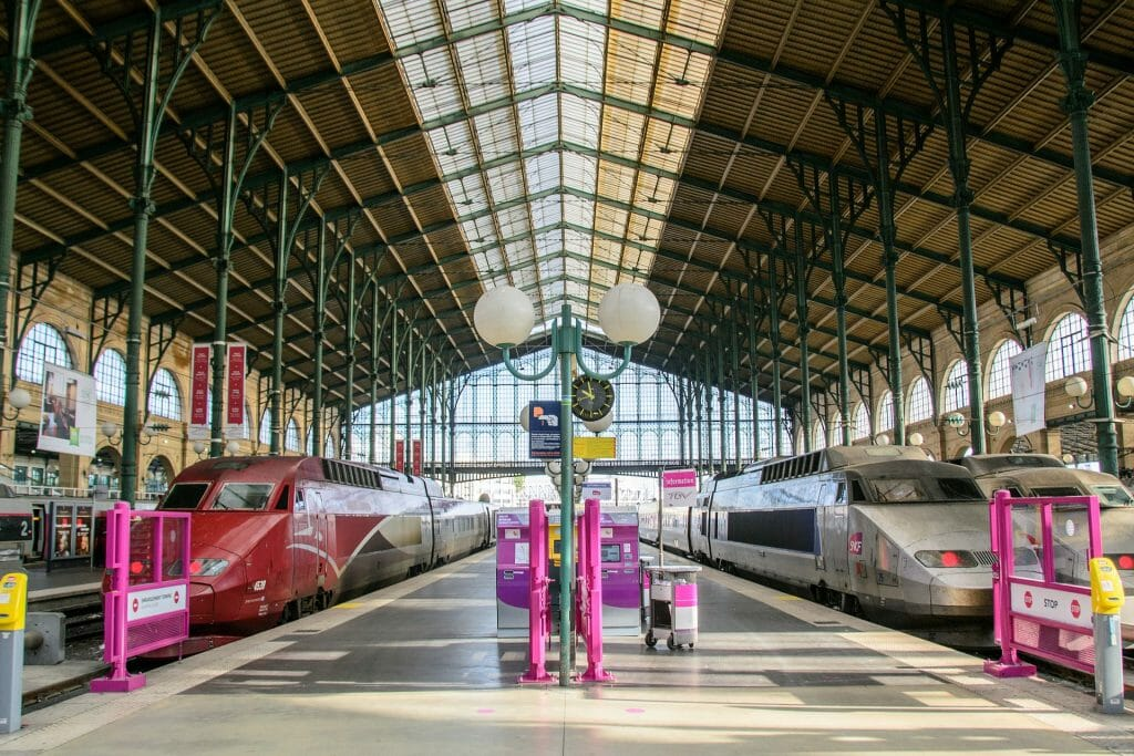 Paris train station with two trains