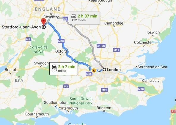 Map of London to Stratford upon Avon