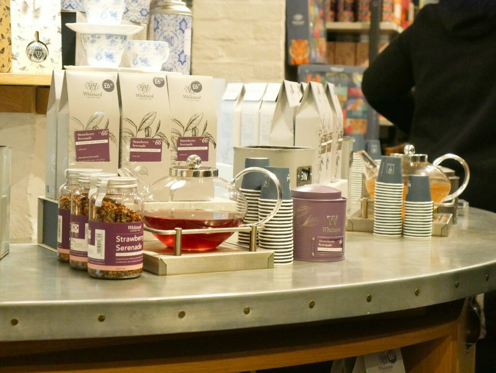 Tea tasting station inside Whittards Covent Garden